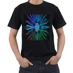Flower Stigma Colorful Rainbow Animation Space Men s T Shirt (black)