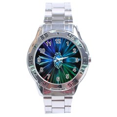 Flower Stigma Colorful Rainbow Animation Space Stainless Steel Analogue Watch