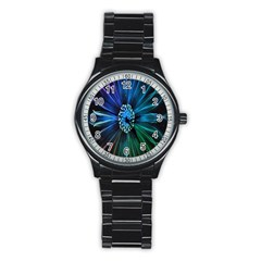 Flower Stigma Colorful Rainbow Animation Space Stainless Steel Round Watch