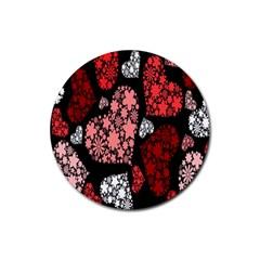 Floral Flower Heart Valentine Rubber Coaster (round)
