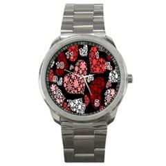 Floral Flower Heart Valentine Sport Metal Watch