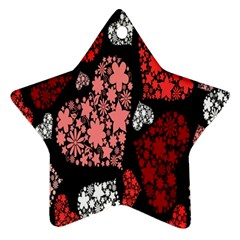 Floral Flower Heart Valentine Star Ornament (two Sides)
