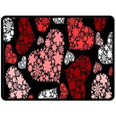 Floral Flower Heart Valentine Fleece Blanket (large)