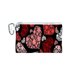 Floral Flower Heart Valentine Canvas Cosmetic Bag (s)