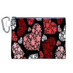 Floral Flower Heart Valentine Canvas Cosmetic Bag (xl)