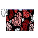 Floral Flower Heart Valentine Canvas Cosmetic Bag (XL) Front