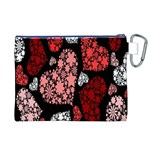 Floral Flower Heart Valentine Canvas Cosmetic Bag (XL) Back