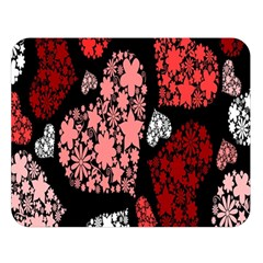 Floral Flower Heart Valentine Double Sided Flano Blanket (large)