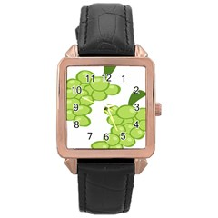 Fruit Green Grape Rose Gold Leather Watch