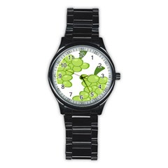 Fruit Green Grape Stainless Steel Round Watch