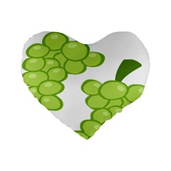 Fruit Green Grape Standard 16  Premium Flano Heart Shape Cushions