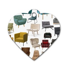 Furnitur Chair Dog Tag Heart (two Sides)