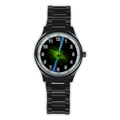Gas Yellow Falling Into Black Hole Stainless Steel Round Watch
