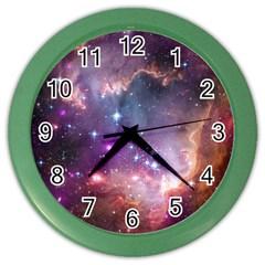 Galaxy Space Star Light Purple Color Wall Clocks
