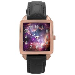 Galaxy Space Star Light Purple Rose Gold Leather Watch