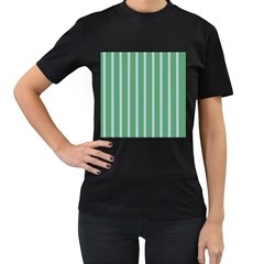 Green Line Vertical Women s T Shirt (black) (two Sided)