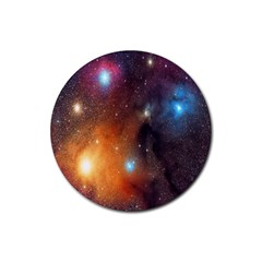 Galaxy Space Star Light Rubber Round Coaster (4 Pack)