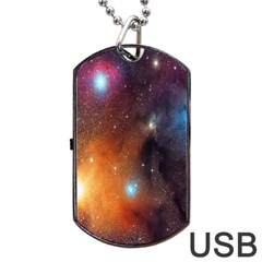 Galaxy Space Star Light Dog Tag Usb Flash (two Sides)
