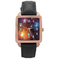 Galaxy Space Star Light Rose Gold Leather Watch