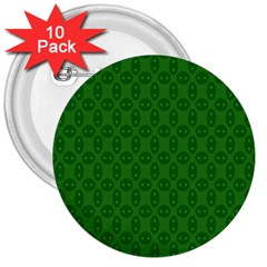 Green Seed Polka 3  Buttons (10 Pack)