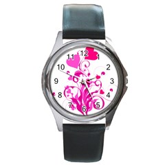 Heart Flourish Pink Valentine Round Metal Watch