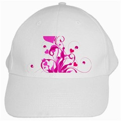Heart Flourish Pink Valentine White Cap