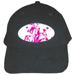 Heart Flourish Pink Valentine Black Cap