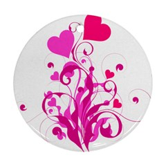 Heart Flourish Pink Valentine Ornament (round)