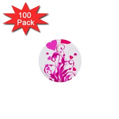 Heart Flourish Pink Valentine 1  Mini Buttons (100 Pack)