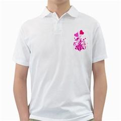Heart Flourish Pink Valentine Golf Shirts
