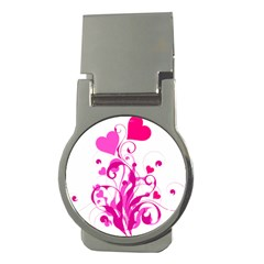 Heart Flourish Pink Valentine Money Clips (round)