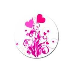 Heart Flourish Pink Valentine Magnet 3  (round)