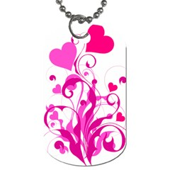 Heart Flourish Pink Valentine Dog Tag (two Sides)