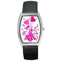 Heart Flourish Pink Valentine Barrel Style Metal Watch