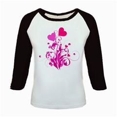 Heart Flourish Pink Valentine Kids Baseball Jerseys