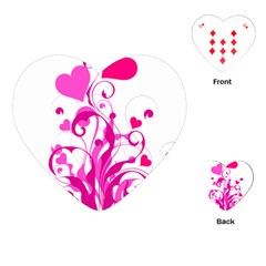 Heart Flourish Pink Valentine Playing Cards (heart)