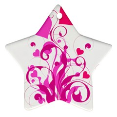Heart Flourish Pink Valentine Star Ornament (two Sides)