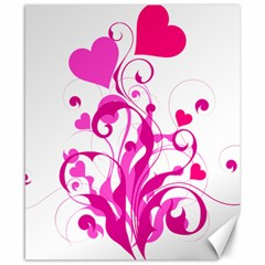Heart Flourish Pink Valentine Canvas 8  X 10