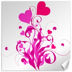 Heart Flourish Pink Valentine Canvas 16  X 16