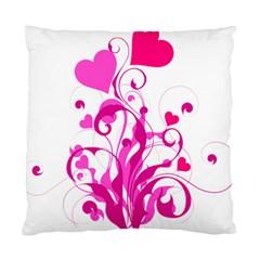 Heart Flourish Pink Valentine Standard Cushion Case (two Sides)