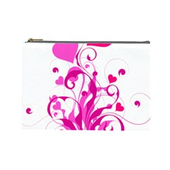 Heart Flourish Pink Valentine Cosmetic Bag (large)