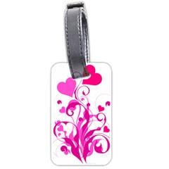 Heart Flourish Pink Valentine Luggage Tags (one Side)