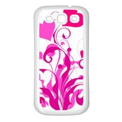 Heart Flourish Pink Valentine Samsung Galaxy S3 Back Case (white)