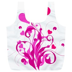 Heart Flourish Pink Valentine Full Print Recycle Bags (l)