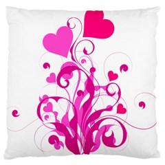Heart Flourish Pink Valentine Large Flano Cushion Case (one Side)