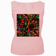 Hawaiian Girls Black Flower Floral Summer Women s Pink Tank Top