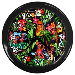 Hawaiian Girls Black Flower Floral Summer Wall Clocks (black)