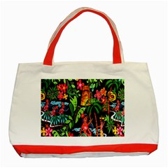 Hawaiian Girls Black Flower Floral Summer Classic Tote Bag (red)