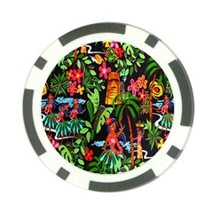 Hawaiian Girls Black Flower Floral Summer Poker Chip Card Guard