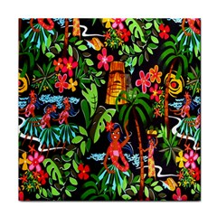 Hawaiian Girls Black Flower Floral Summer Face Towel